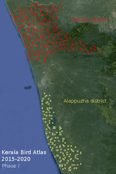 Kerala Bird Atlas, first phase (2015-2016). Squares show the grids that will be surveyed in each district.