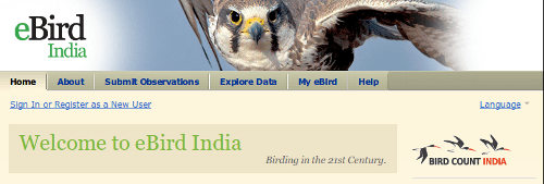 Banner and main menu of the eBird India portal