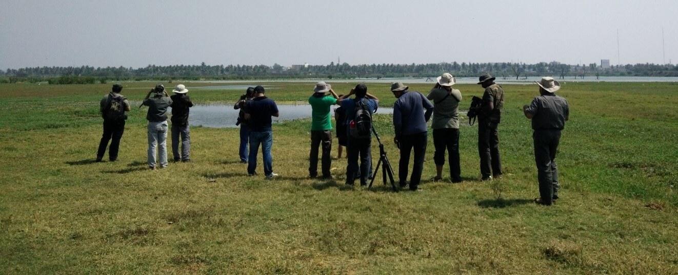 Birders at Hoskote Lake